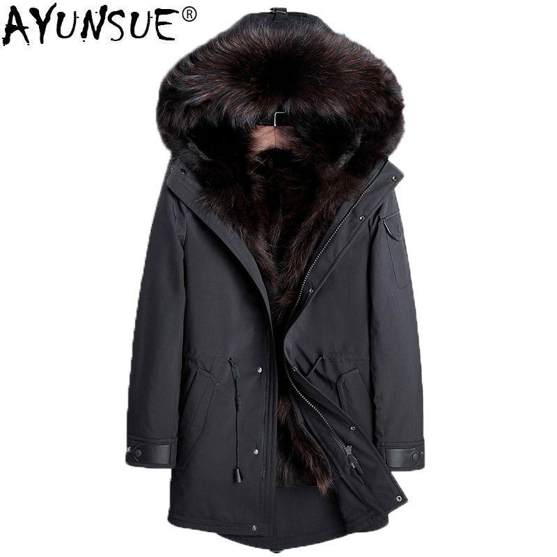 AYUNSUE Parka Echtpelz Mantel Männer Winter Jacke Waschbär Pelz Liner Plus Größe Luxus Jacken 2018 Parkas Manteau Homme Hiver KJ1156