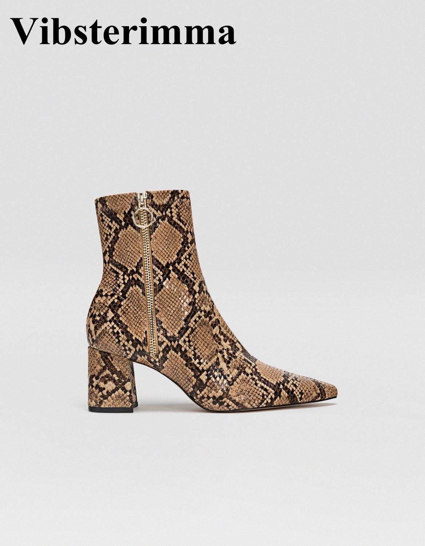 Vibsterimma Neue 2019 Schlangenleder knöchel stiefel Frauen echtes leder stiefel Frauen zipper spitz booties