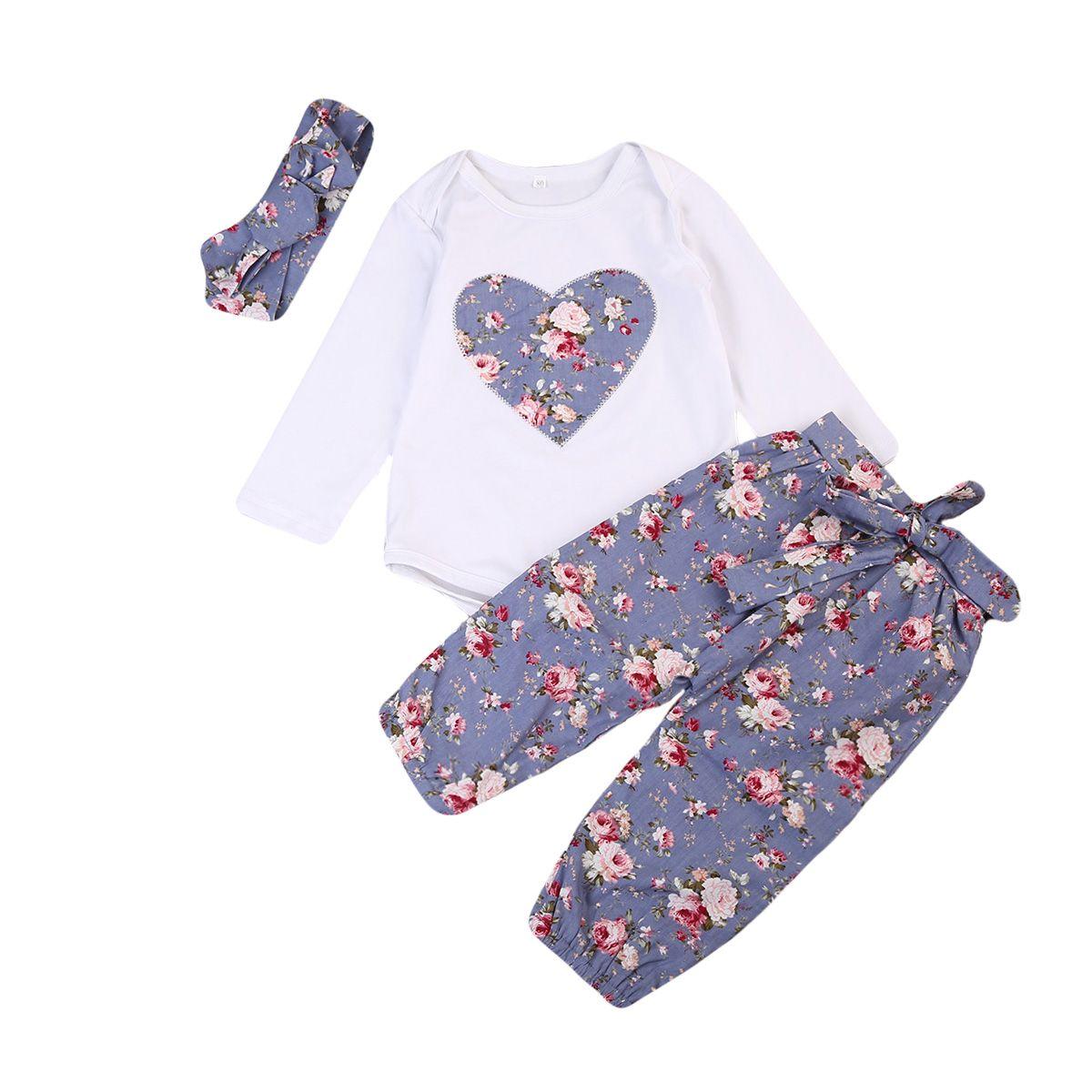 3 unids recién nacido Niño niña Sets ropa floral jumpsuit romper + Pantalones + Headband outfits