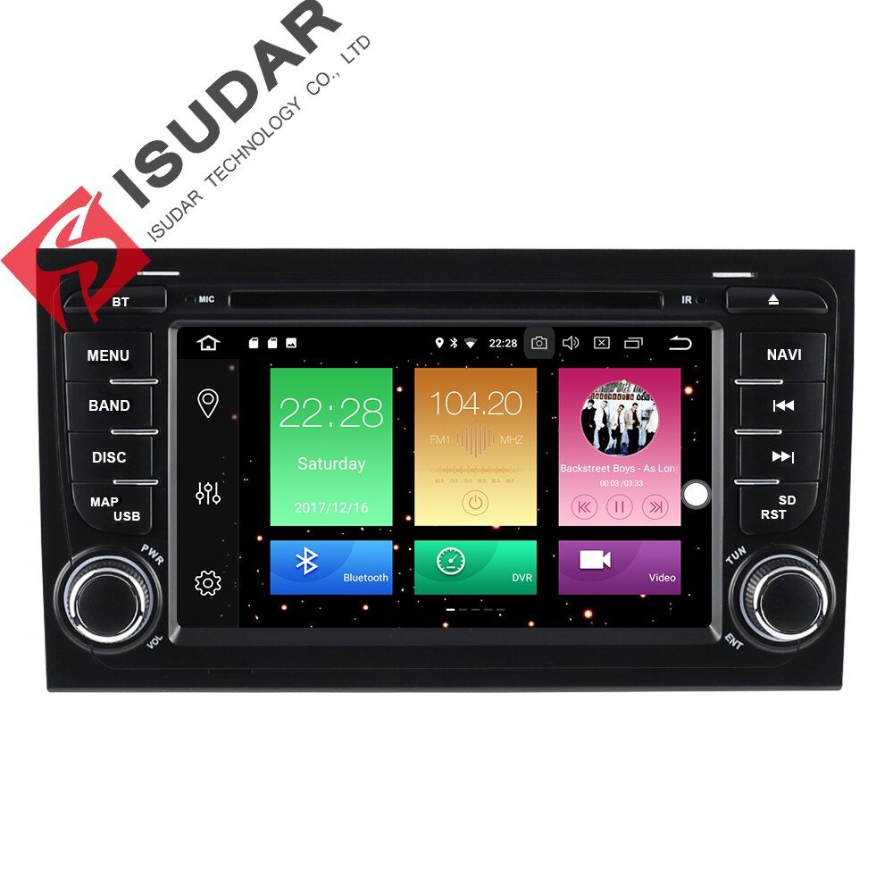 Isudar Car Multimedia Player Car Radio GPS Android 8.0 2 Din For A4/S4/Audi 2002-2008 Capacitive Touch Screen Autoradio USB DVR
