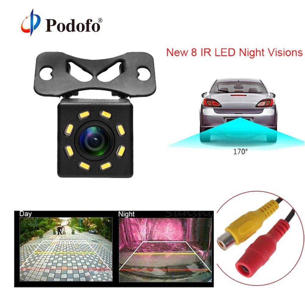 Podofo Car Rear View Camera 8 LED Night Vision Wide Angle HD Color Image Waterproof Universal Backup Parking Reverse Camera Car
