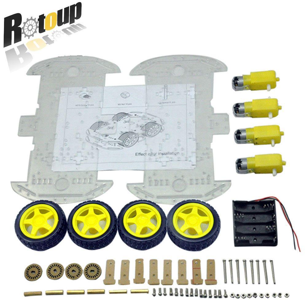 Rotoup 4WD Moteur Robot Kit Châssis De Voiture avec moteur à engrenages intelligent Robot Plate-Forme Pour Arduino RC Évitement Vitesse Codeur Batterie boîte