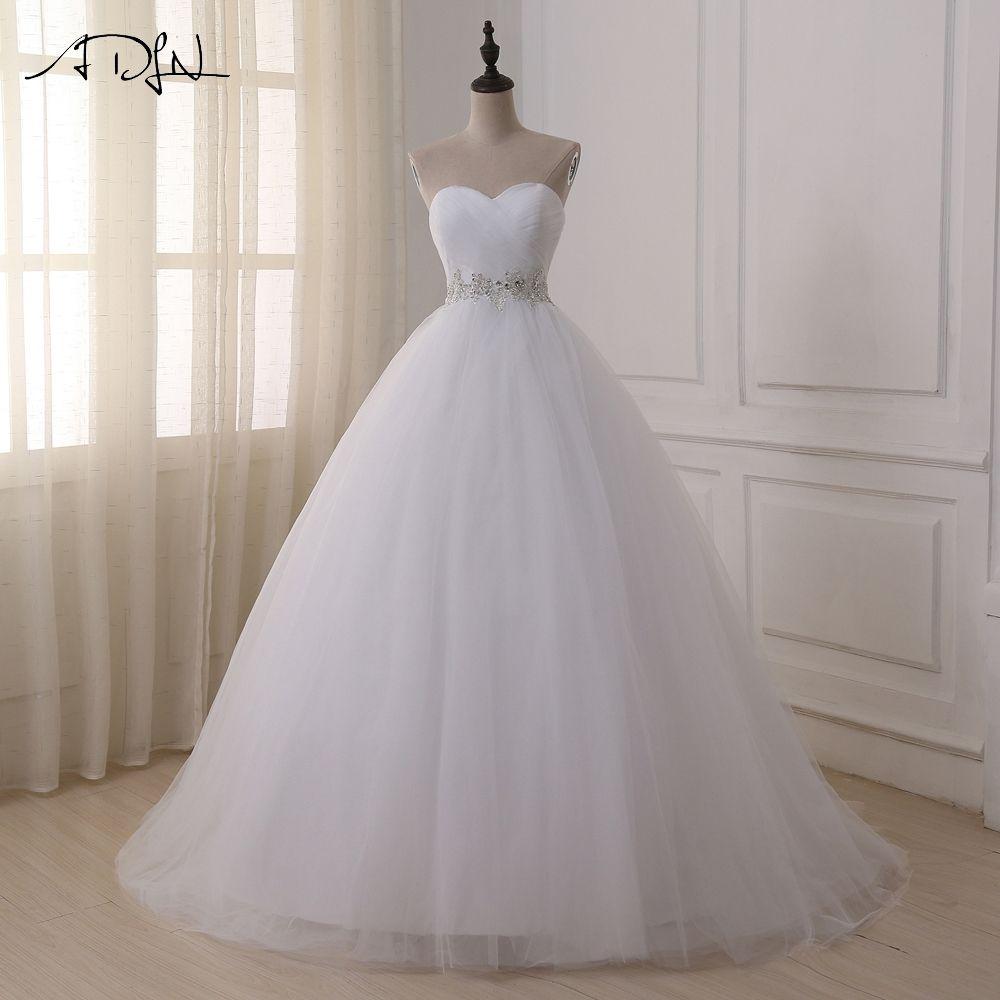ADLN Stock Ball Gown Wedding Dresses 2017 Sweetheart Sweep Train Lace Applique Corset Bride Dresses Gowns Vestidos De Novia