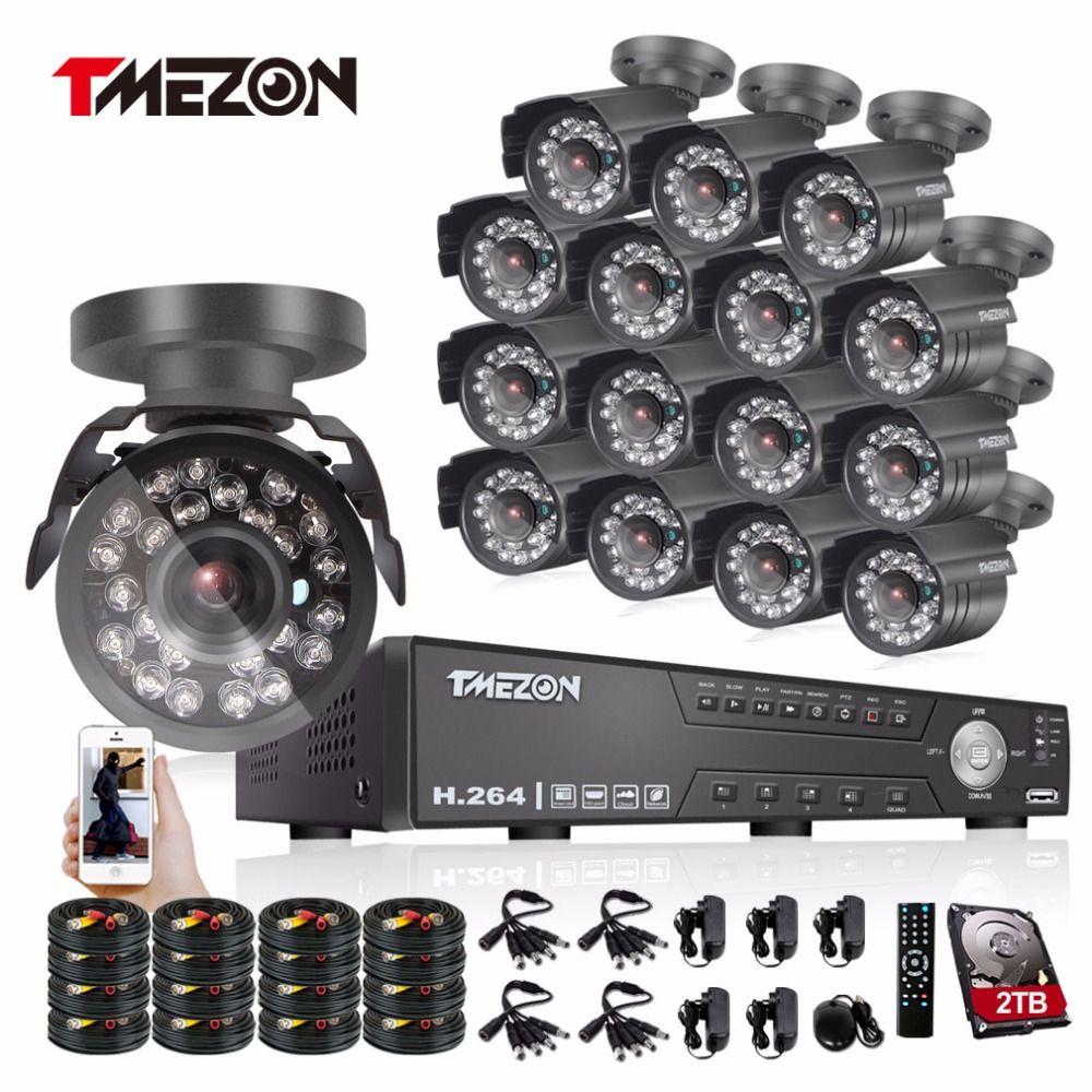 Tmezon 16CH AHD DVR 16Pcs 2.0MP 1080P Camera Security Surveillance CCTV System Outdoor Waterproof IR Night Vision 1TB 2TB HD Kit