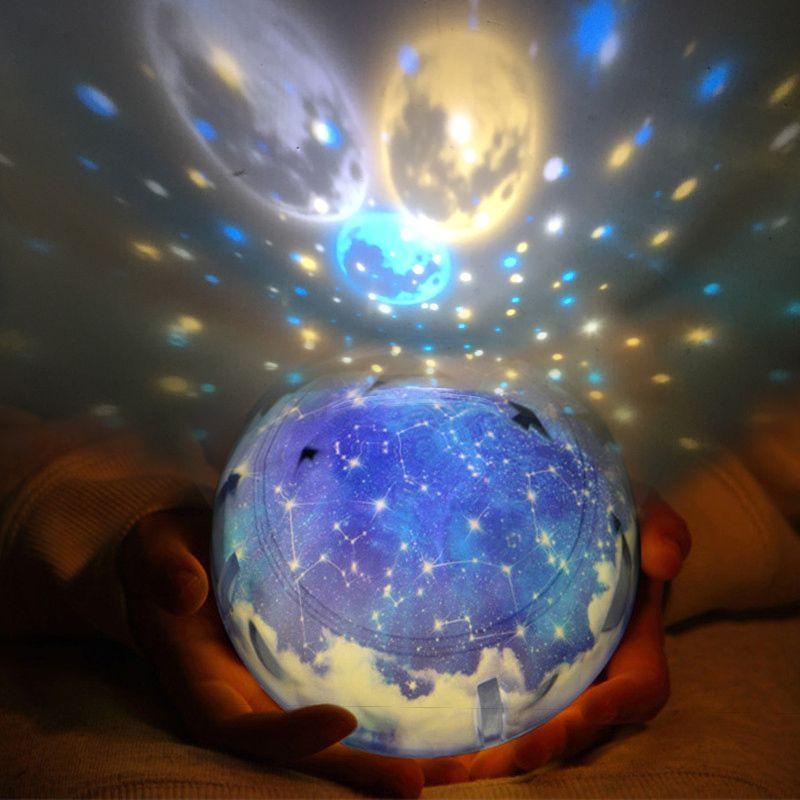 LED Lumière de Nuit Étoilé Ciel Magic Star Lune Planète Lampe De Projecteur Cosmos Univers Luminaria Bébé Pépinière Lumière Pour Le Cadeau D'anniversaire