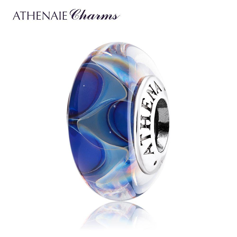 Athenaie натуральная Мурано Стекло Серебро 925 Ядро океана Secret Шарм Бисера Подходит Для Всех Европейский Браслеты Цвет синий