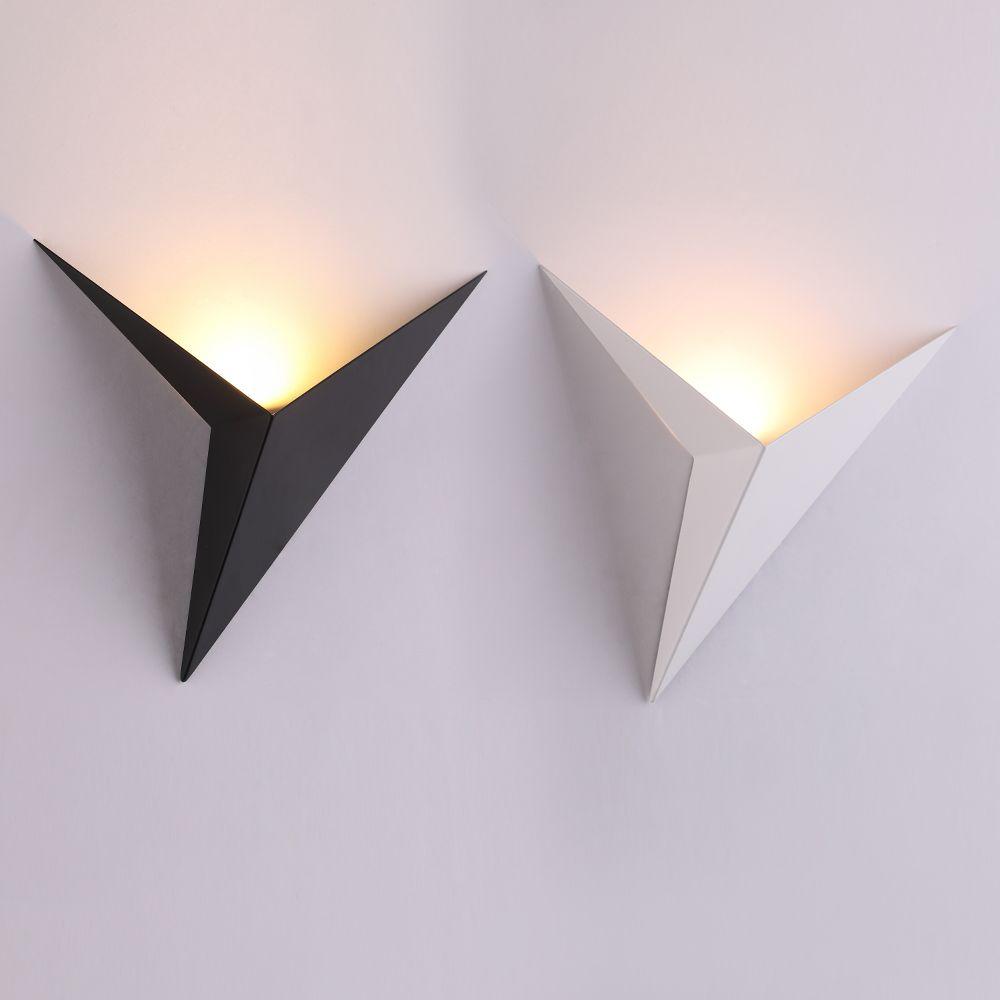 Lampes de mur LED de forme triangle minimaliste moderne lampes murales d'intérieur de style nordique lampes de salon 3 W AC85-265V éclairage Simple