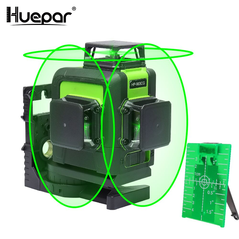 Huepar 12 Lines 3D Cross Line Laser Level Green Laser Beam Line Self-Leveling 360 Vertical & Horizontal Cross Super Powerful
