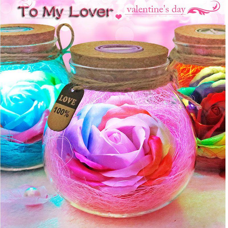 Led romantique Rose fleur nuit lumière chanceux bouteille RGB gradateur lampe avec 16 couleur à distance vacances cadeau pour amant fille chambre décor