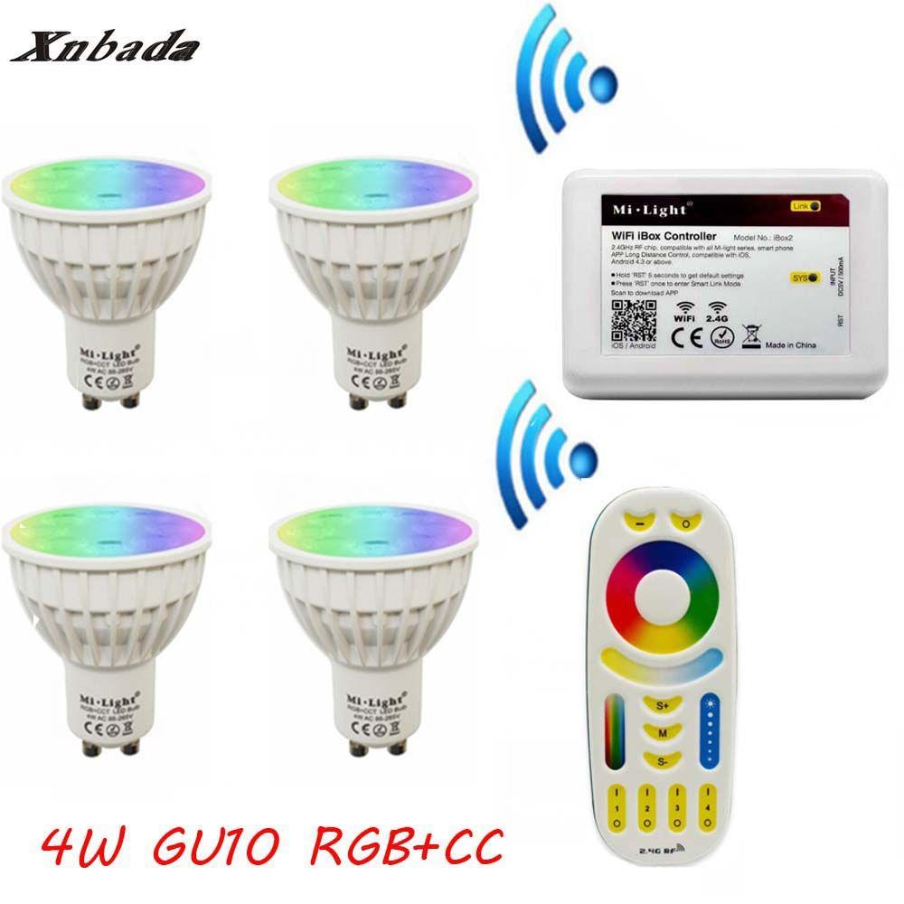 MiLight Gu10 4 Watt Led-lampe RGB + CCT + Fernbedienung + IBX2 RF Fern Wifi led-lampe Led-strahler Led-licht AC85-265V Kostenloser versand