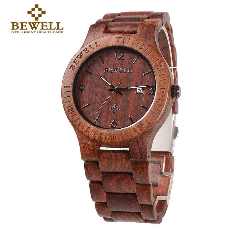BEWELL 086B Simple Round Case light quality Date Function Mens Wooden Watch Analog Quartz Lightweight Handmade Wood Wrist Watch