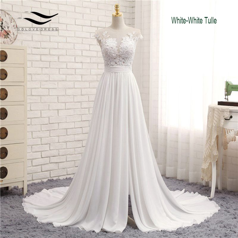 Sexy V-neck Chapel Train Long Zipper Cap Sleeves Lace Applique A Line Beach Wedding Dress Real Photo Wedding Gown SLD-W592