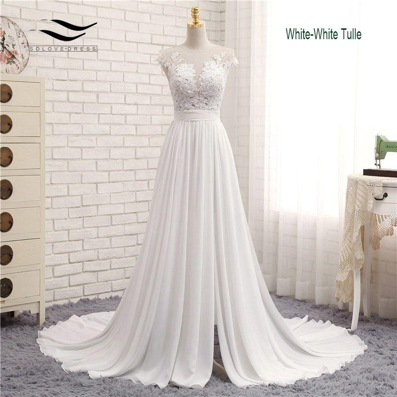 Sexy V-neck Chiffon Chapel Train Long Zipper Cap Sleeves Lace A Line Beach Wedding Dress Real Photo Wedding Gown 2017 SLD-W592