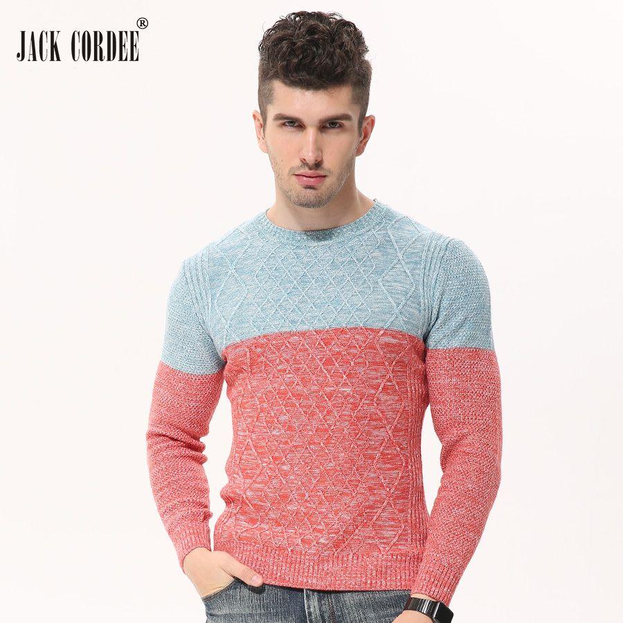 Jack cordee 2017 осень-зима модный пэчворк вязаный свитер Для мужчин О-образным вырезом тонкий пуловер Свободные свитеры Homme трикотаж