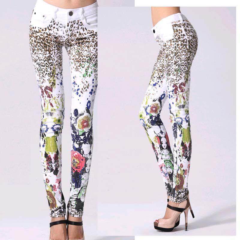 Bonne qualité élastique impression jeans femme crayon pantalon fille blanc Jeans léopard pantalon femme Skinny Long femmes Slim Capris