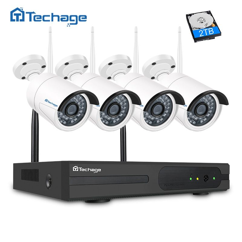 Techage 4CH Wifi CCTV System 1080P Wireless NVR 2.0MP Outdoor Waterproof Wifi Security Camera IR Night Vision Surveillance Kit