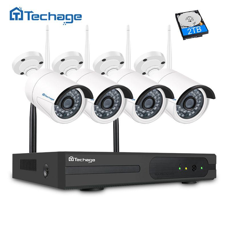 Techage 4CH Wifi CCTV System 1080P Wireless NVR 2.0MP Outdoor Waterproof Wifi Security Camera IR Night Vision Surveillance Kit