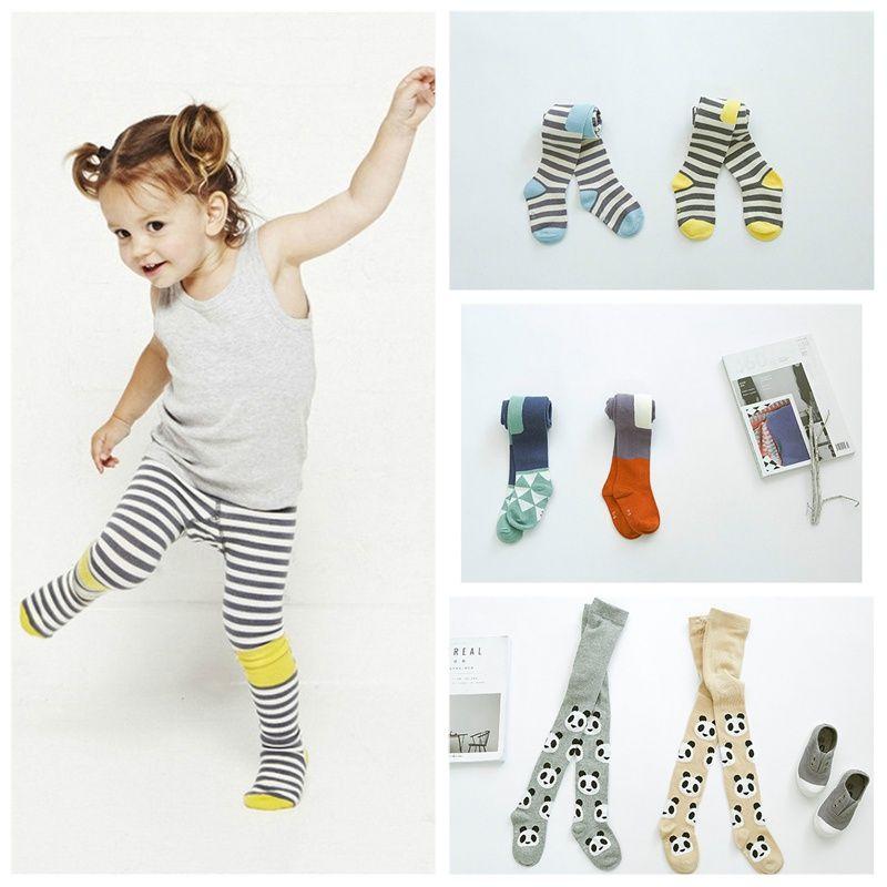 Хлопковые колготки для маленьких девочек Детские в полоску панда Чулки для женщин колготки, штаны с рисунками для маленьких детей Обувь для...