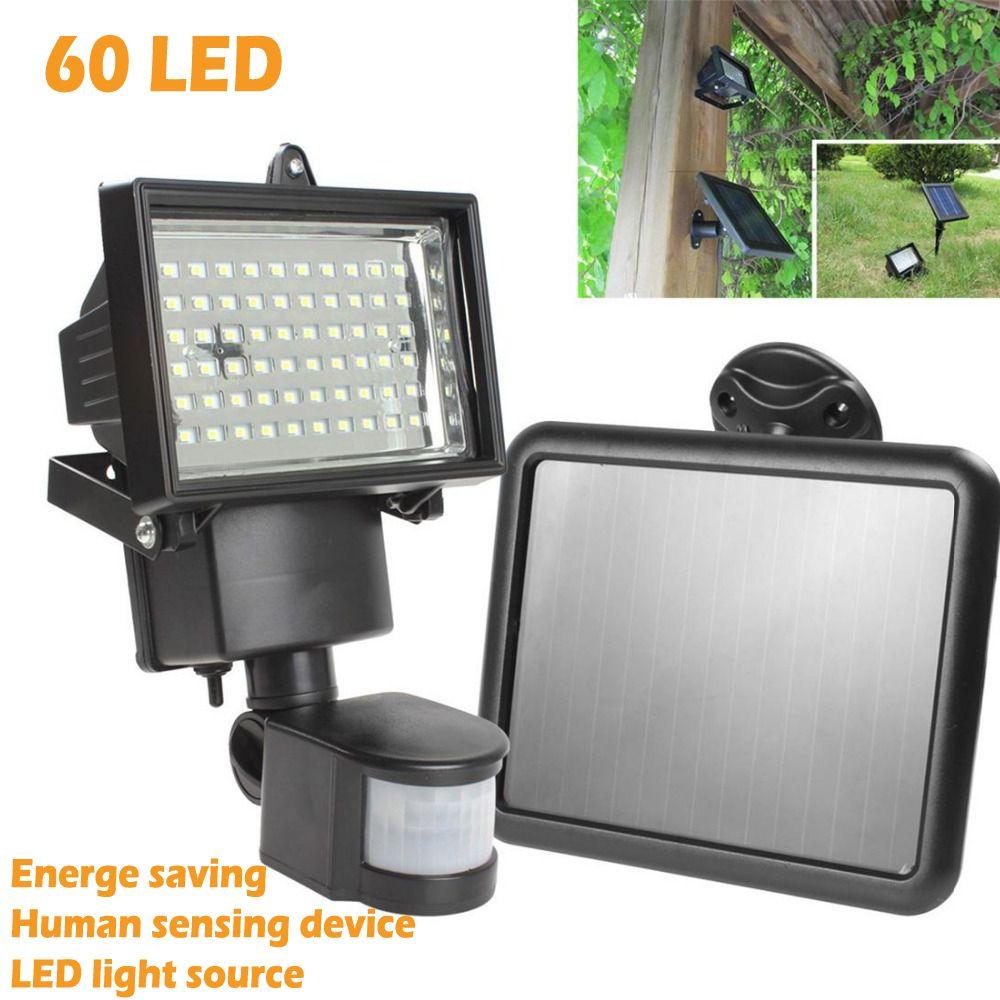 High Quality Solar Panel LED Flood Security Garden Light PIR Motion Sensor 60 LEDs Path Wall Lamps Outdoor Emergency Lamp