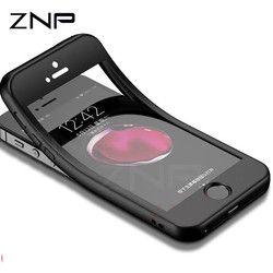 ZNP Mode Silicon Lembut Telepon Kasus Untuk iPhone 7 6 8 5 5 s SE 360 Penuh Cover Kasus Untuk iPhone 6 6 s 7 8 Ditambah Perlindungan Tas Telepon
