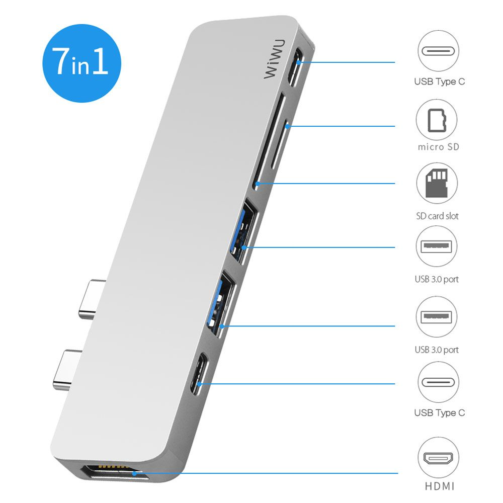 WIWU USB Hub 7 in 1 Type-C Hub 3.0 Dual Type-C for Macbook Pro USB-C Adapter with HDMI 4K Video PD Card Read SD/TF 3.0 USB Port