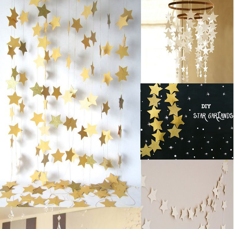 35pieces Bojar New 4m Long Shining Stars Hanging Paper Garlands String Chain Wedding Party Home Birthday Kids
