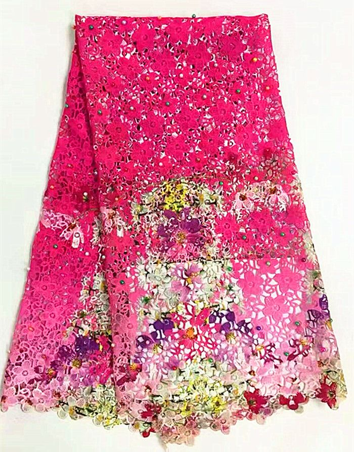 High quality nigerian wedding printing  water soluble lace fabric with beads, beautiful flowers pattern design free shipping.