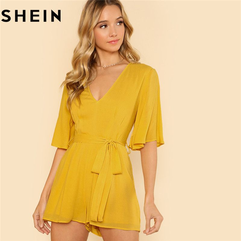 SHEIN Women Yellow V Neck Casual Half Flounce Sleeve <font><b>Wide</b></font> Leg Rompers Summer New Vacation Mid Waist Plain Belted Short Playsuits