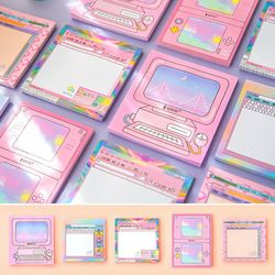 50 hojas/piezas Kawaii dibujos animados máquina de juego de ordenador cojín de nota pegajoso nota Oficina escuela papelería suministros 01960