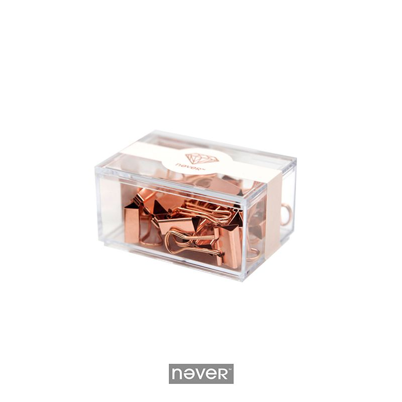 Never Rose Gold Metal Paper Clips Large Fashion Creative Binder Clips Memo Holder Office Accessories Stationery School Supplies