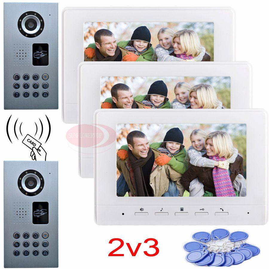 Door intercom video intercom video door phone rfid password unlock 2 waterproof ip65 ccd cameras 3 color 7inch indoor monitors