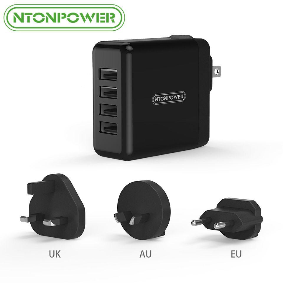 Chargeur universel de téléphone portable NTONPOWER 4 USB adaptateur de voyage UK/EU/AU/US 34 W chargeur mural USB pour tablette/iPhone/téléphone Android