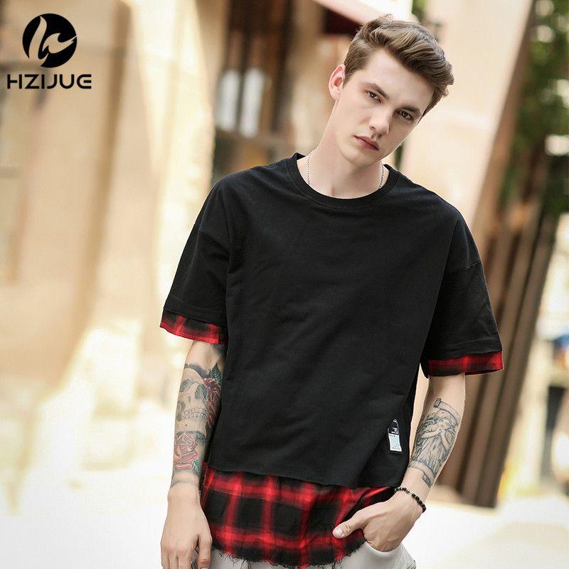 Hzijue Лето 2017 г. уличная Расширенный Футболки плед лоскутное изогнутые подол хип-хоп футболки длинные Дизайн Для мужчин модная футболка