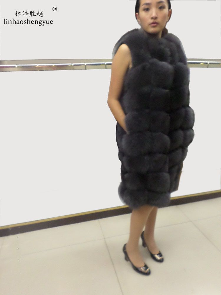 Linhaoshengyue 90CM long real natural fox fur vest blue green black and gray real fur fox fur coat women natural fur coats