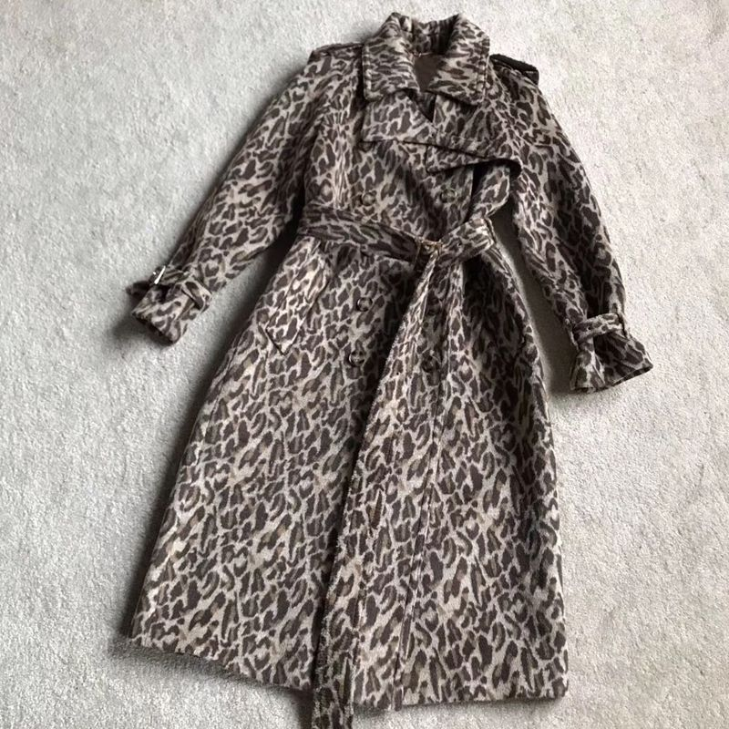 Leopard Trench for Women long Sleeve Turn-down Collar Elegant Fahsion Lady Outerwear 2018 new Women Trench