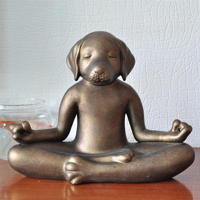 Keramik kreative Retro hund elefant yoga statue wohnkultur handwerk raumdekoration handwerk vintage porzellan tierfigur