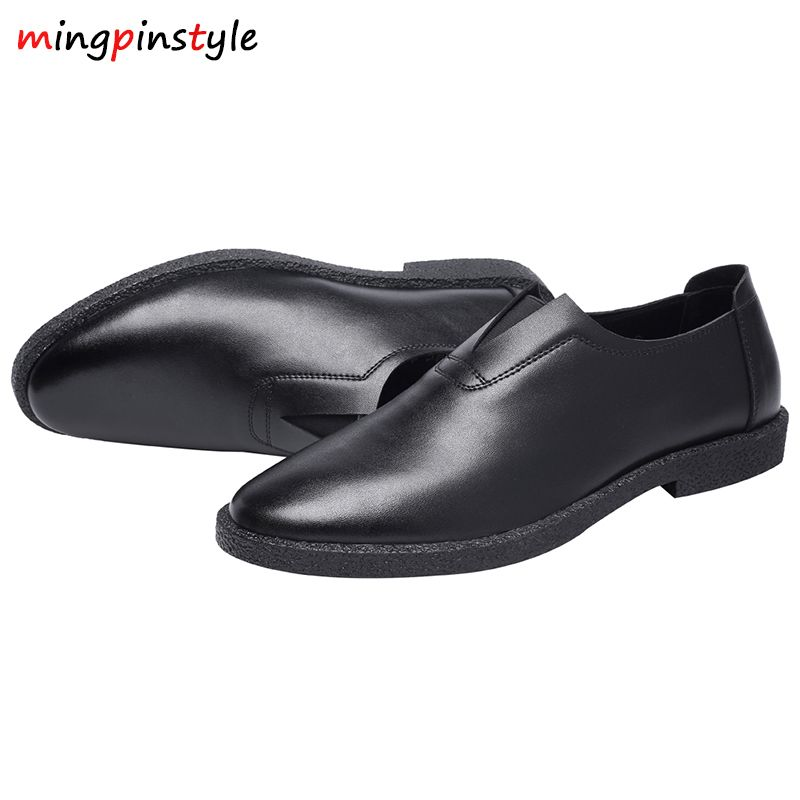 Men; Men's Driving Shoes 2018 Natural Leather Slippers, Fashion Handmade Leather Shoes, Heel Shoes, No Breathing Soft Slippers.