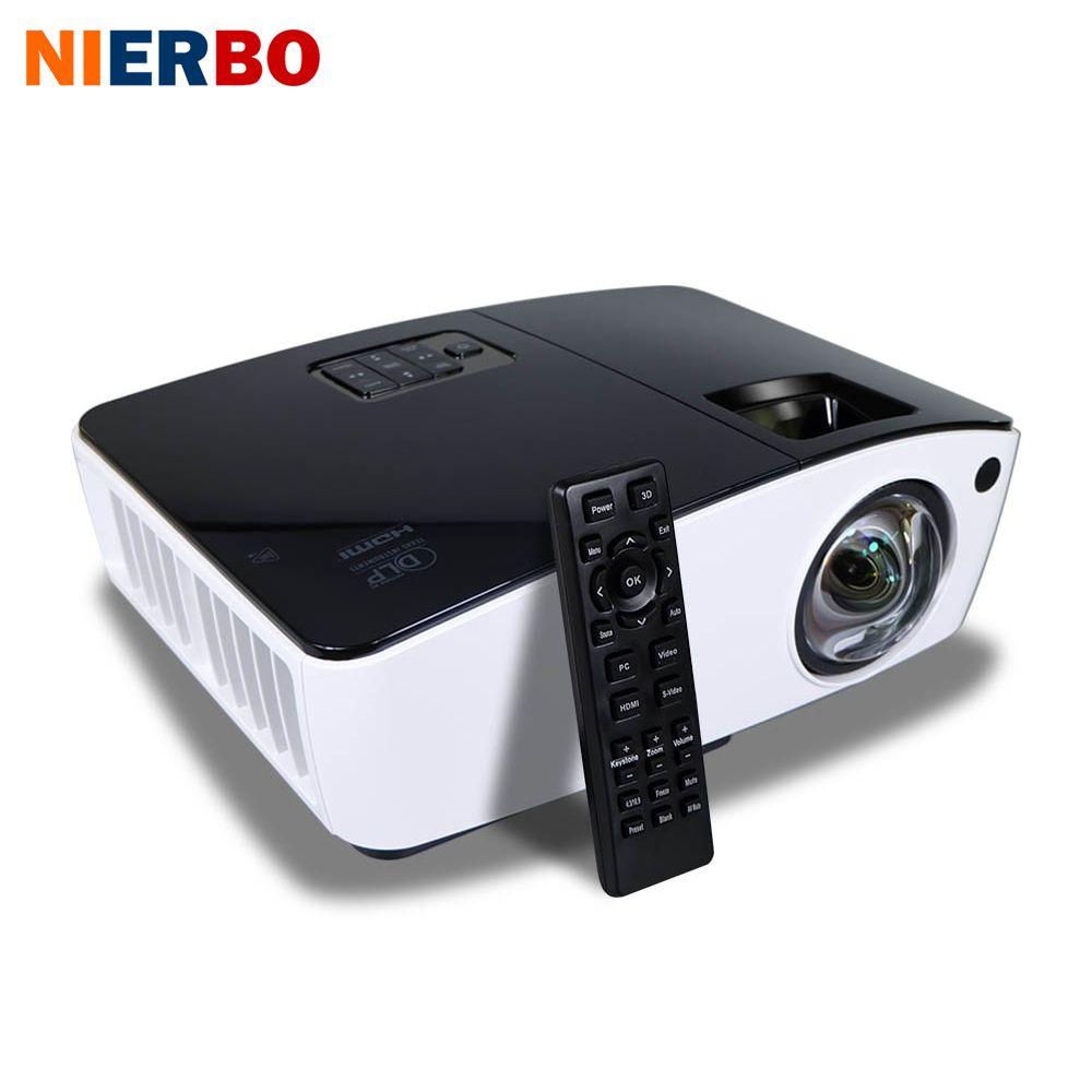 NIERBO Courte Portée Projecteur 3D Lumière Du Jour Projecteurs En Plein Air Lumineux 4000 ANSI Lumens Scolaires D'affaires projecteur 260 W Ampoule HDMI