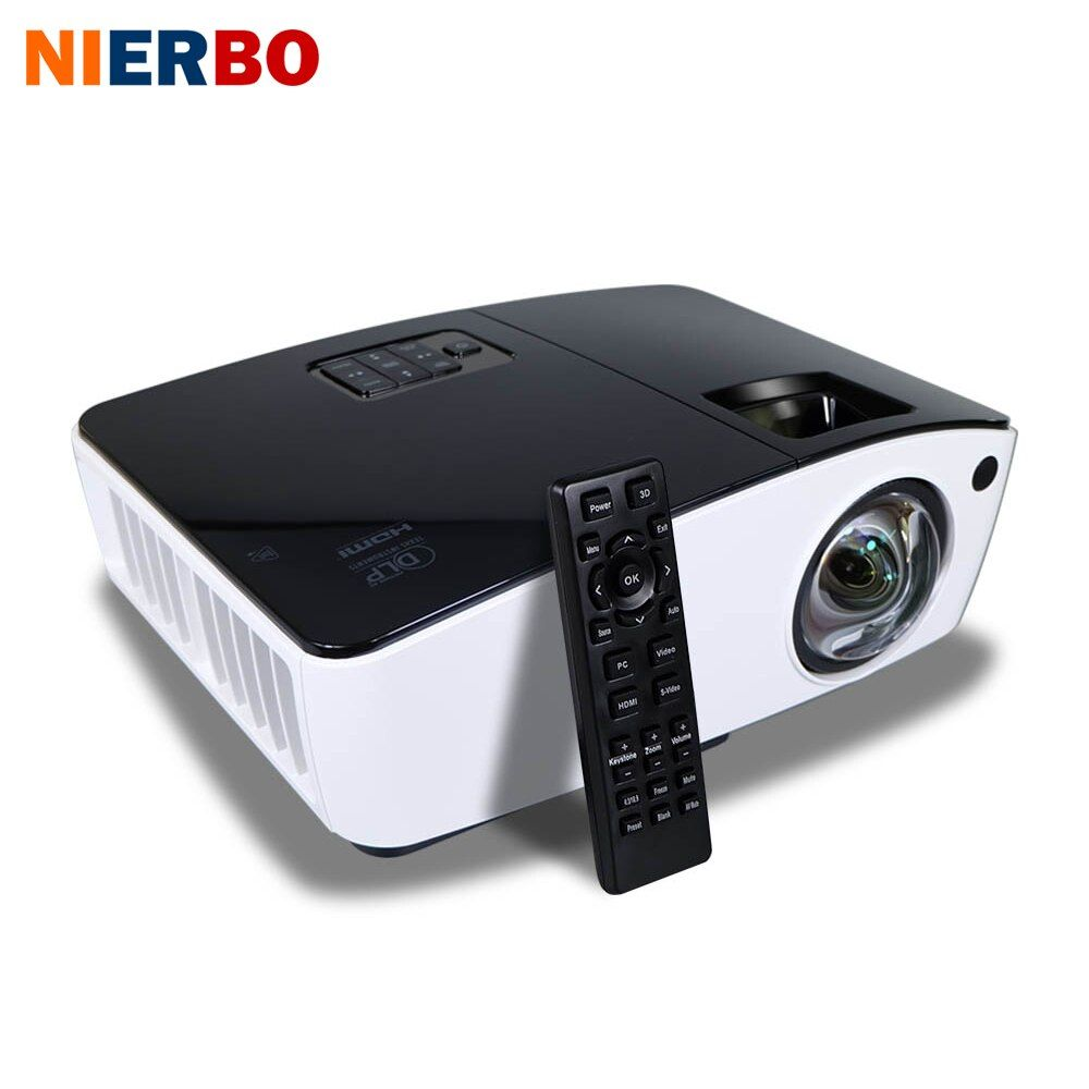 NIERBO Short Throw Projector 3D Daylight Projectors Outdoor Bright 4000 ANSI Lumens School Business  projector 260W Bulb HDMI