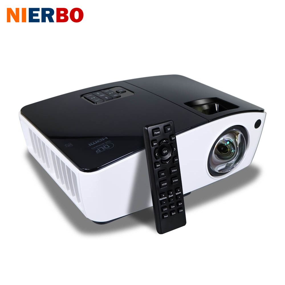NIERBO Short-throw-projektor 3D Tageslicht Im Freien Helle 4000 ANSI Lumen Schule business-projektor 260 Watt Birne HDMI