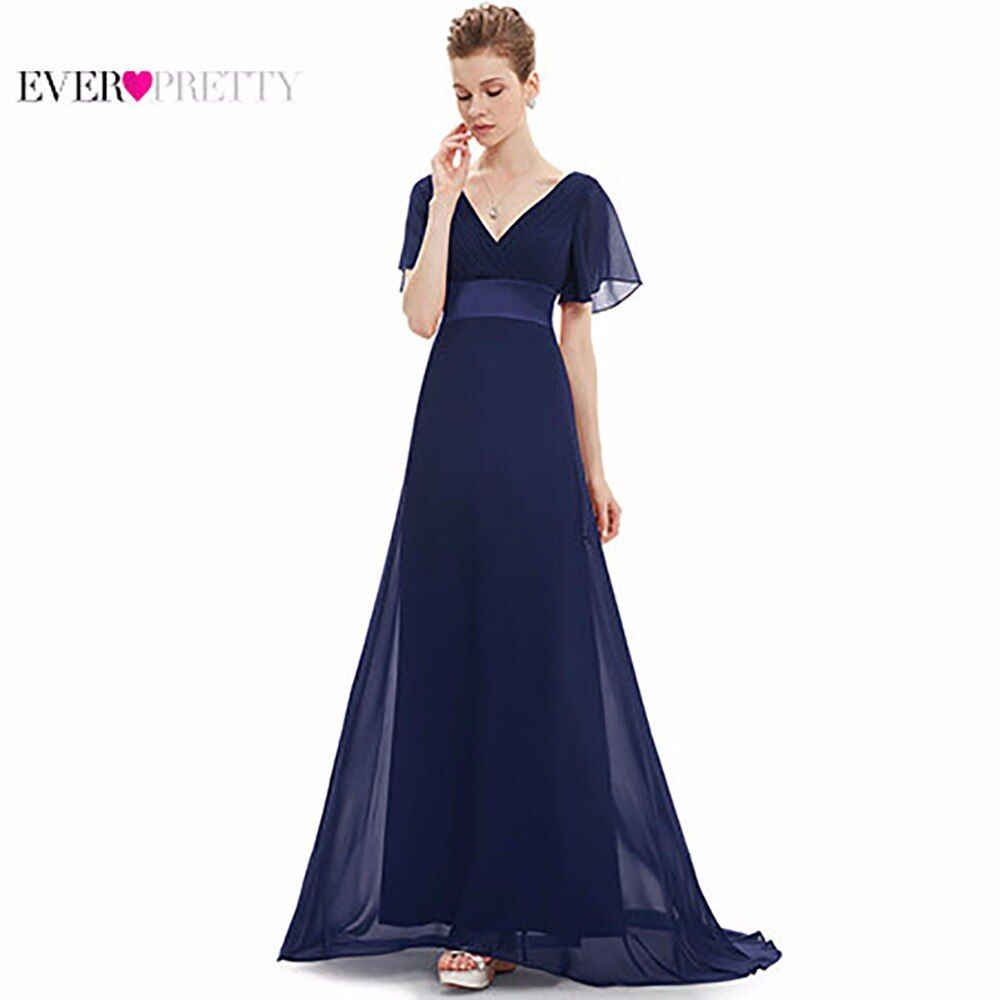 Evening Dresses EP09890 Padded Trailing Flutter Sleeve Long Women Gown 2018 New Chiffon Summer <font><b>Style</b></font> Special Occasion Dresses