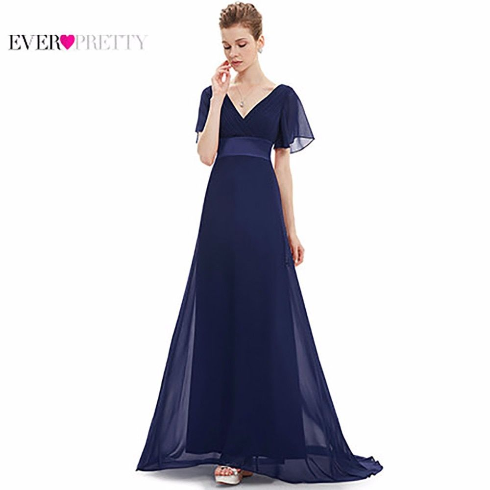 Evening Dresses EP09890 <font><b>Padded</b></font> Trailing Flutter Sleeve Long Women Gown 2018 New Chiffon Summer Style Special Occasion Dresses