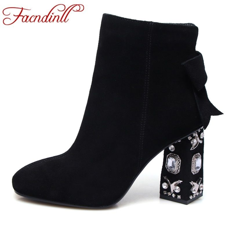 FACNDINLL women ankle boots suede leather shoes women rhinestones square toe zipper dress shoes fashion high heels boots 34-43