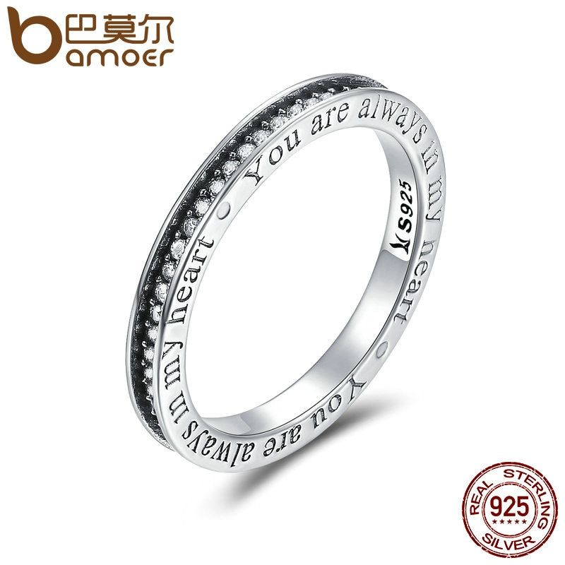 BAMOER 925 Sterling Silver You are Always in MY Heart Letter Pave CZ Finger Rings for Women Wedding Engagement Jewelry SCR159