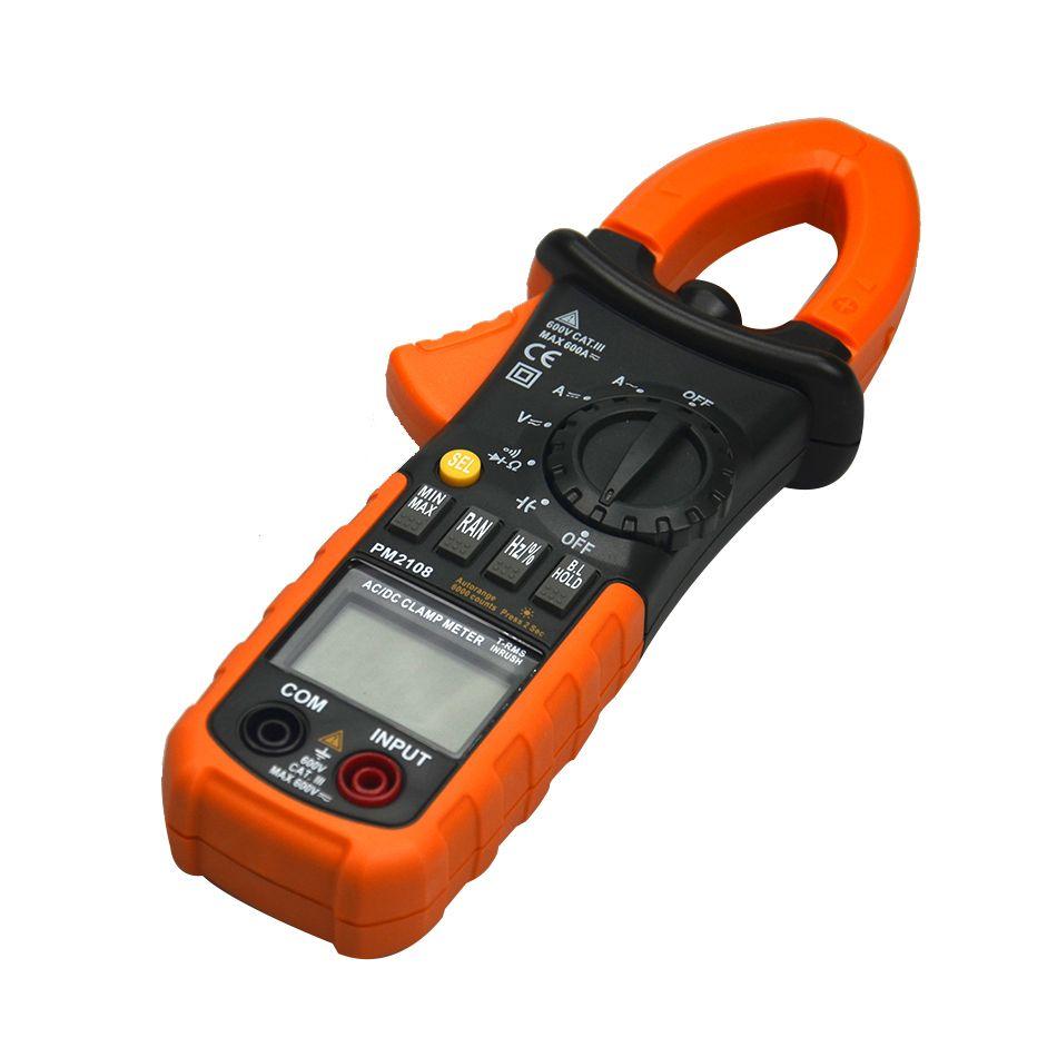PM2108 Digital Clamp Meter True RMS LCD Multimeter AC DC Voltmeter Ammeter Ohm Herz. Duty Cycle Multi Tester