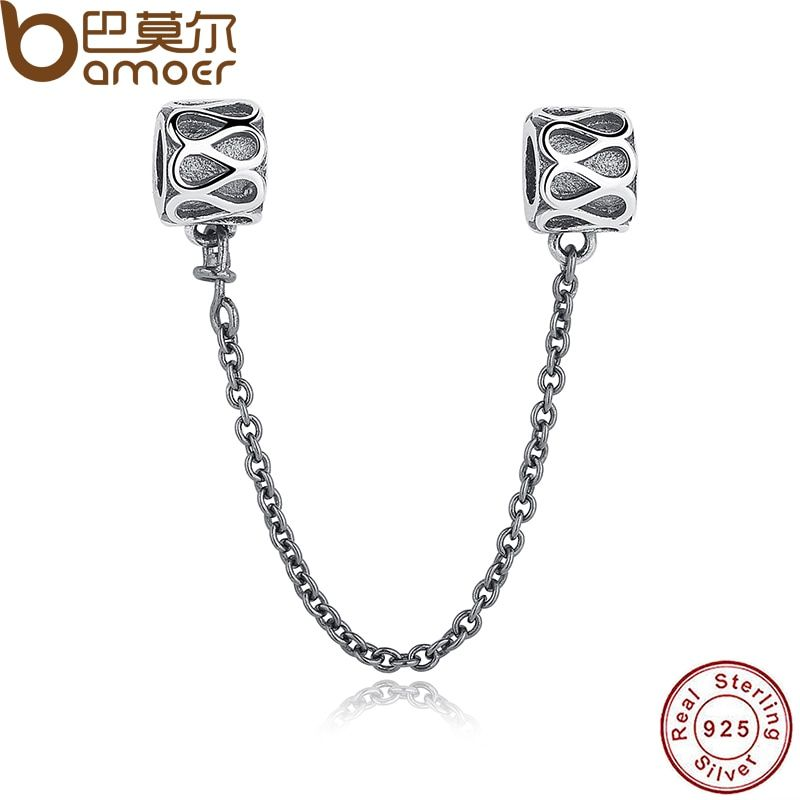 Gift 925 Sterling Silver Elegant Raindrops pattern Safety Chain Charm Fit  Bracelet & Necklace Jewelry Accessories PAS202