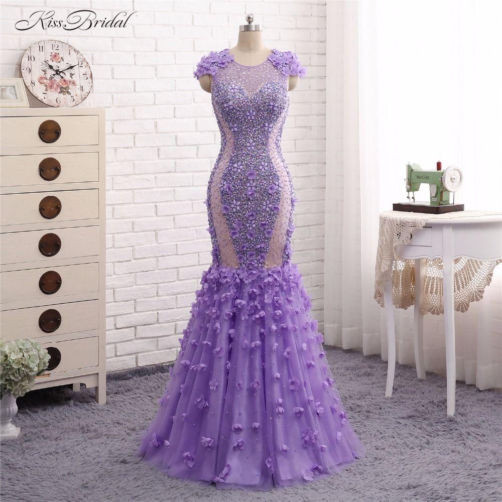 Lilac Formale Abendkleider Lange Vestido de Festa Mermaid Short Flügelärmeln Kristall Perlen Abendkleid mit Blütenblätter Robe de Soiree