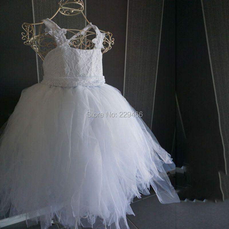 2018 vintage dentelle rustique Blanc couleur bretelles spaghetti fluffy tulle robe de bal robes de demoiselle pour mariages soirée partie