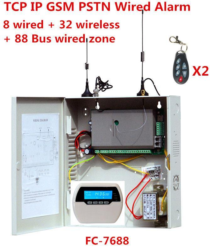 Fokus FC-7688 Verdrahtete Alarm System 8 verdrahtete zonen 32 drahtlose zonen 88 Bus zone Festnetz GSM internet TCP IP verdrahtete sicherheit system