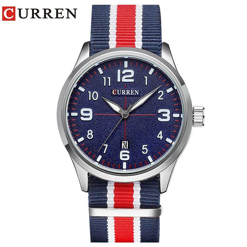 New Curren Watches Men Top Brand Luxury Mens Nylon Strap Wristwatches Men's Quartz Popular <font><b>Sports</b></font> Watches relogio masculino 8195